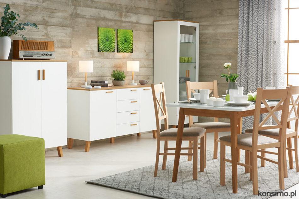 FRISK Komoda w stylu skandynawskim biała do salonu biały/dąb naturalny - zdjęcie 1
