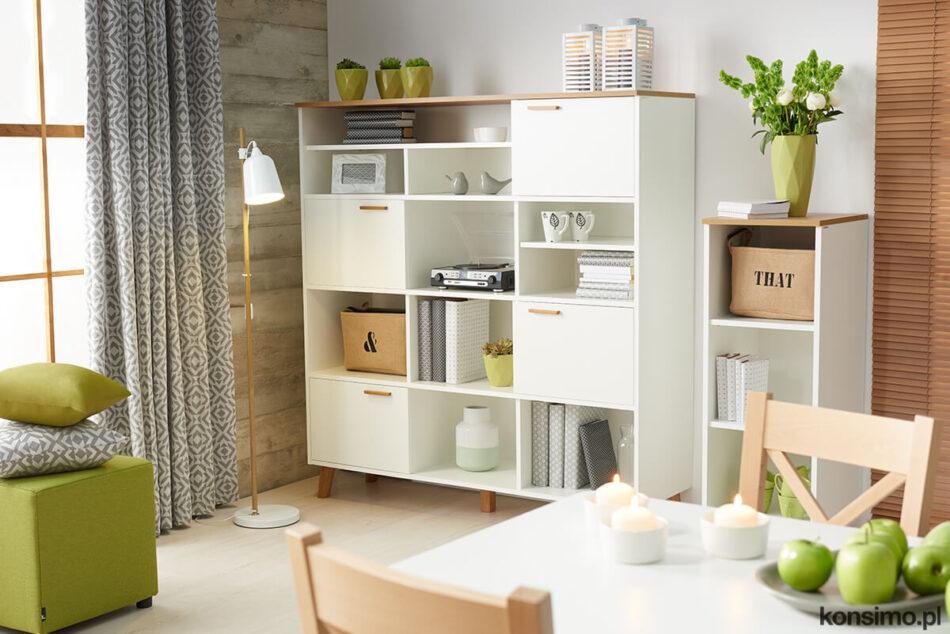 FRISK Biała meblościanka do salonu w stylu skandynawskim biały/dąb naturalny - zdjęcie 1
