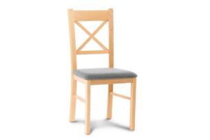 CRAM, https://konsimo.pl/kolekcja/cram/ Proste krzesło drewniane krzyżak buk tkanina pleciona szara buk/jasny szary - zdjęcie