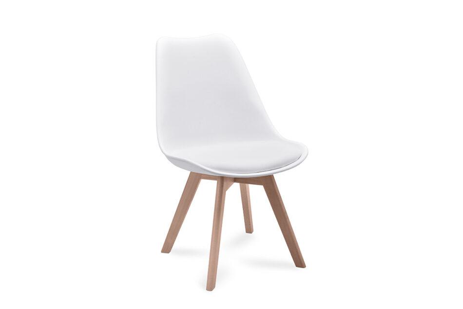 BESO Proste plastikowe krzesło na drewnianym stelażu białe biały - zdjęcie 0