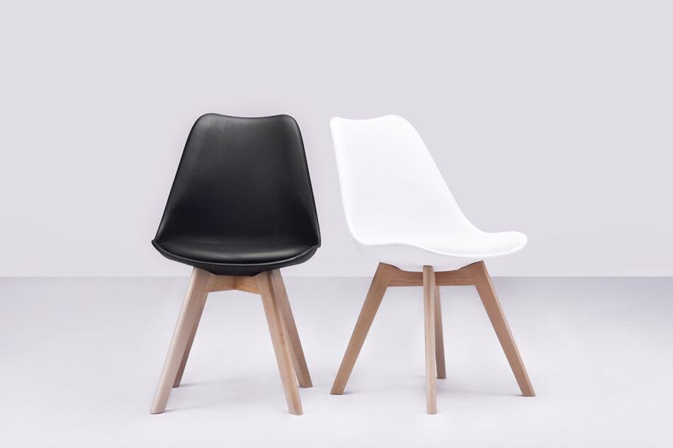 BESO Proste plastikowe krzesło na drewnianym stelażu białe biały - zdjęcie 1