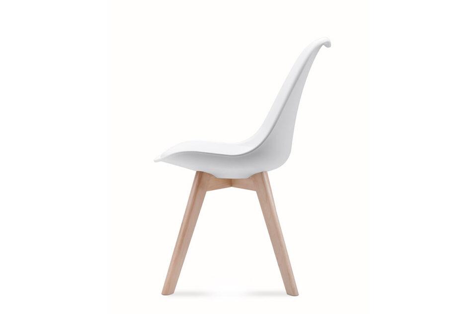 BESO Proste plastikowe krzesło na drewnianym stelażu białe biały - zdjęcie 6