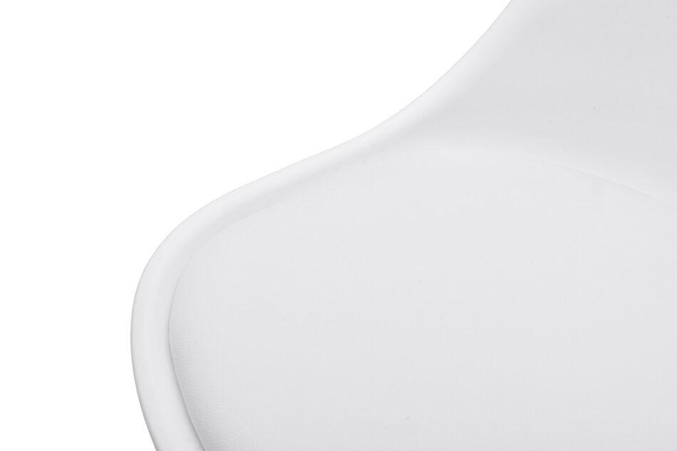 BESO Proste plastikowe krzesło na drewnianym stelażu białe biały - zdjęcie 2