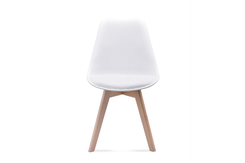 BESO Proste plastikowe krzesło na drewnianym stelażu białe biały - zdjęcie 4