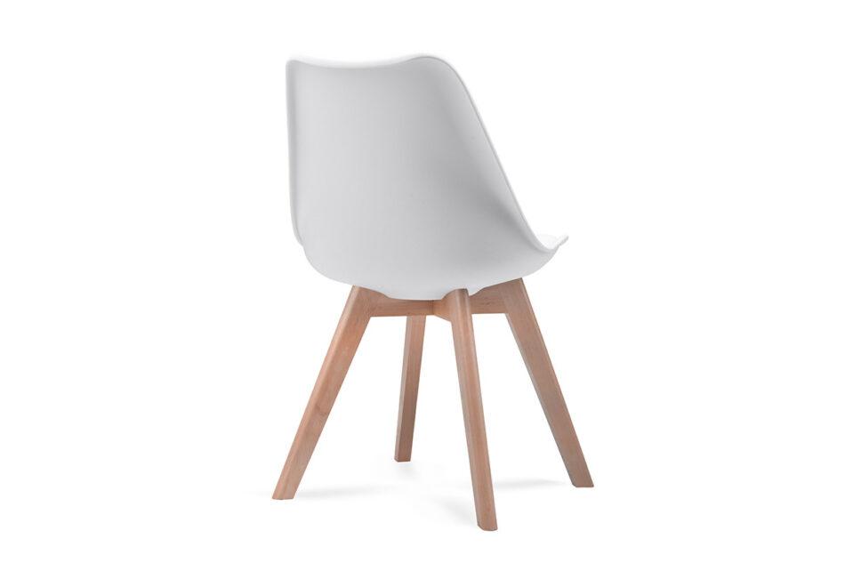 BESO Proste plastikowe krzesło na drewnianym stelażu białe biały - zdjęcie 3