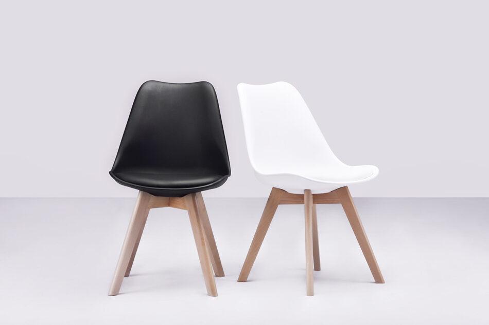 BESO Proste plastikowe krzesło na drewnianym stelażu czarne czarny - zdjęcie 2