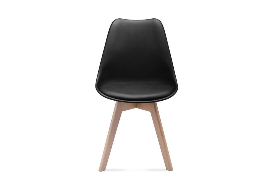 BESO Proste plastikowe krzesło na drewnianym stelażu czarne czarny - zdjęcie 4