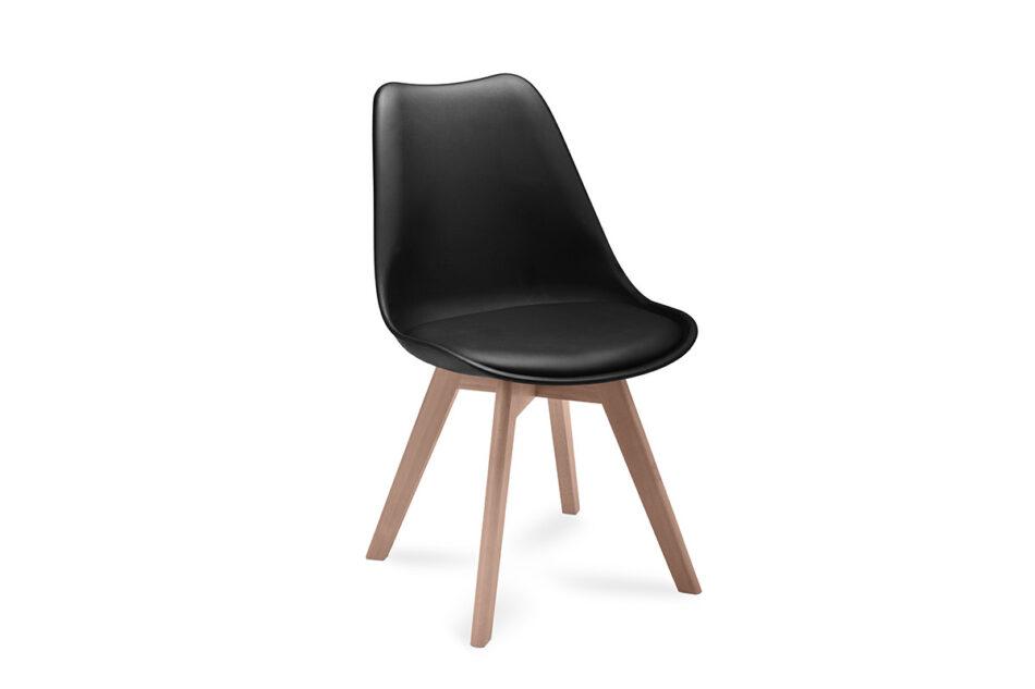 BESO Proste plastikowe krzesło na drewnianym stelażu czarne czarny - zdjęcie 3