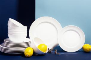 LARIS, https://konsimo.pl/kolekcja/laris/ Zestaw obiadowy, 4 os. (12el) biały - zdjęcie