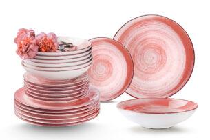 LINARI, https://konsimo.pl/kolekcja/linari/ Nowoczesny zestaw talerzy obiadowych dla 12 os. 36 elementów różowy koralowy - zdjęcie