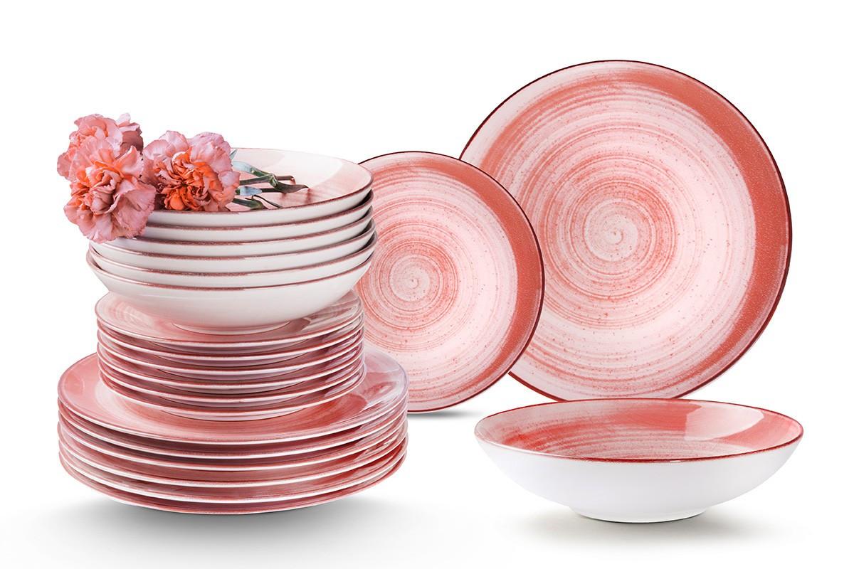 Nowoczesny zestaw talerzy obiadowych dla 12 os. 36 elementów różowy