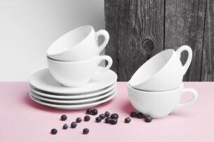 LUPIN, https://konsimo.pl/kolekcja/lupin/ Zestaw herbaciany, 4 os. (8 el) biały - zdjęcie