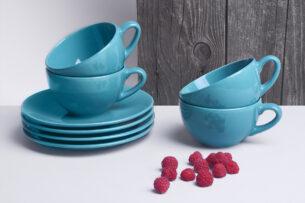 LUPIN, https://konsimo.pl/kolekcja/lupin/ Zestaw herbaciany dla 4 osób turkusowy turkusowy - zdjęcie