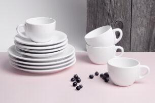 LUPIN, https://konsimo.pl/kolekcja/lupin/ Zestaw kawowy dla 4 osób biały biały - zdjęcie