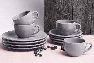 LUPIN, https://konsimo.pl/kolekcja/lupin/ Zestaw kawowy dla 4 osób szary szary - zdjęcie