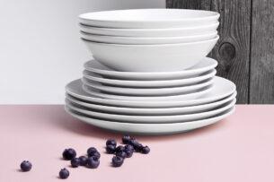LUPIN, https://konsimo.pl/kolekcja/lupin/ Zestaw obiadowy, 6 os. (18el) biały - zdjęcie