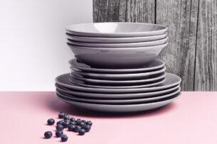 LUPIN, https://konsimo.pl/kolekcja/lupin/ Zestaw obiadowy dla 6 osób szary szary - zdjęcie