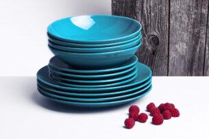 LUPIN, https://konsimo.pl/kolekcja/lupin/ Zestaw obiadowy dla 12 osób turkusowy turkusowy - zdjęcie