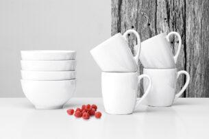 LUPIN, https://konsimo.pl/kolekcja/lupin/ Zestaw śniadaniowy dla 4 osób biały biały - zdjęcie