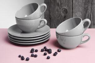 LUPIN, https://konsimo.pl/kolekcja/lupin/ Zestaw herbaciany, 4 os. (8 el) szary - zdjęcie