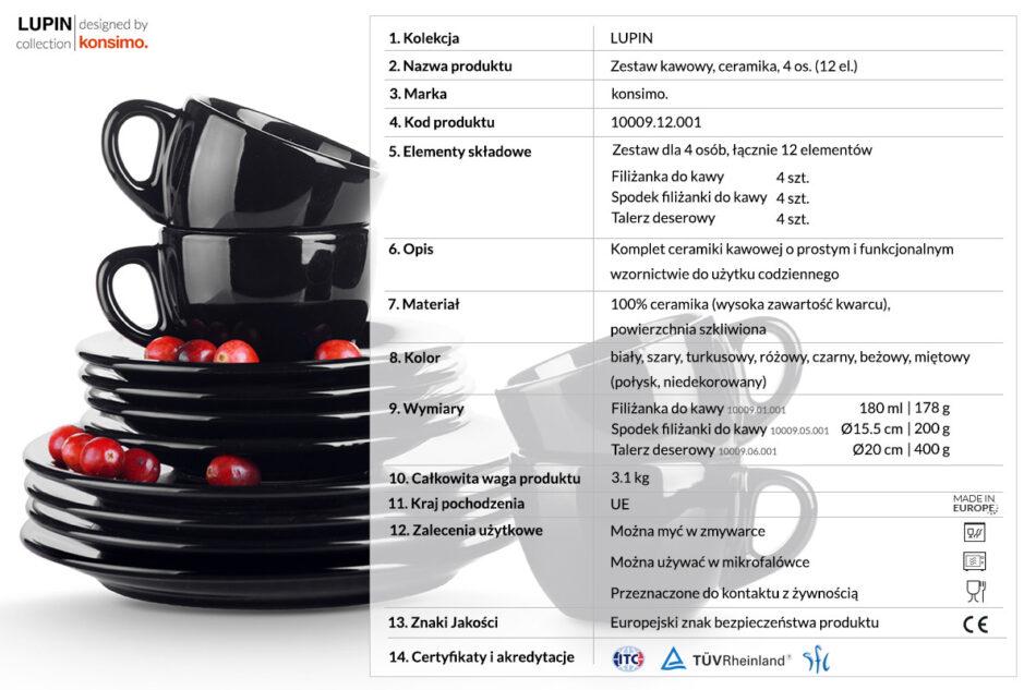 LUPIN Zestaw kawowy dla 4 osób czarny czarny - zdjęcie 2