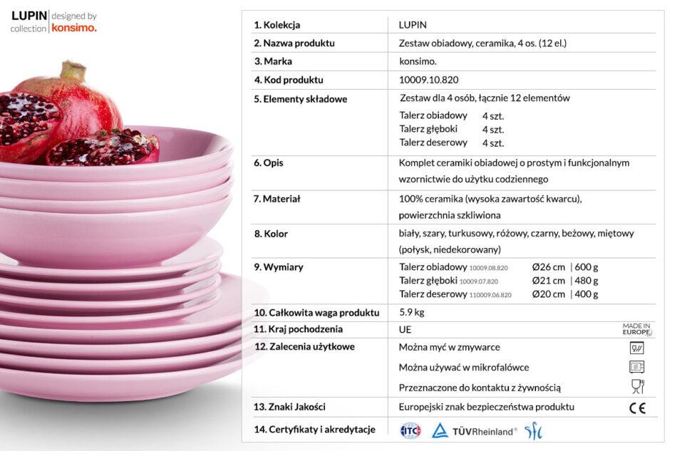 LUPIN Zestaw obiadowy, 4 os. (12el) różowy - zdjęcie 2
