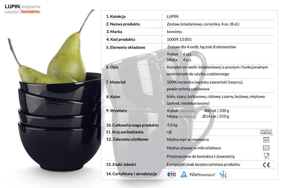 LUPIN Zestaw śniadaniowy dla 4 osób czarny czarny - zdjęcie 2
