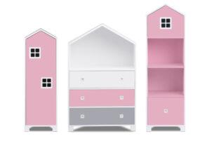 MIRUM, https://konsimo.pl/kolekcja/mirum/ Zestaw meble dla dziewczynki domki różowe 3 elementy biały/różowy/szary - zdjęcie