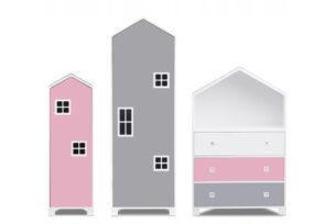 MIRUM, https://konsimo.pl/kolekcja/mirum/ Zestaw meble domki dla dziewczynki różowe 3 elementy biały/różowy/szary - zdjęcie