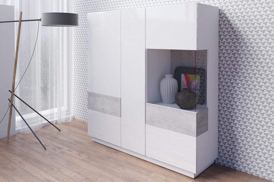 SILKE Podwójna komoda z witryną 130 cm modern biała / szara biały połysk/szary - zdjęcie 1