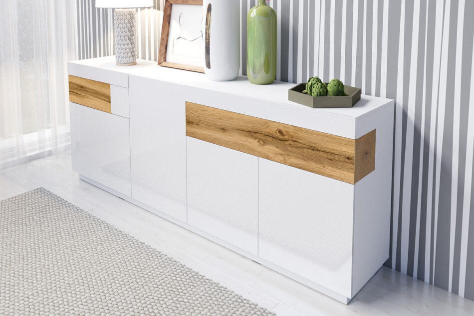 SILKE Duża komoda 220 cm z półkami modern biała / dąb biały połysk/dąb wotan - zdjęcie 1