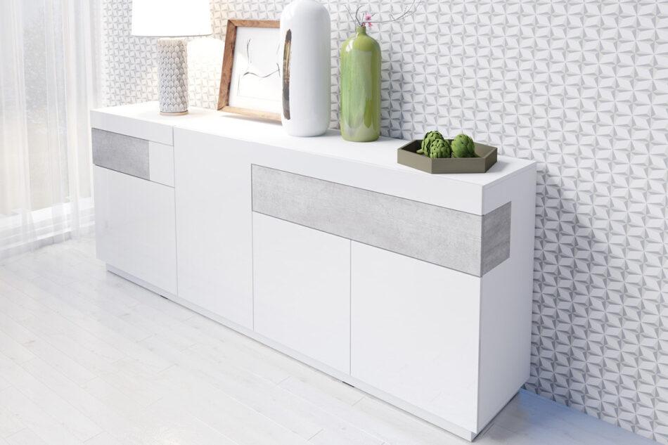 SILKE Duża komoda 220 cm z półkami modern biała / szara biały połysk/szary - zdjęcie 1