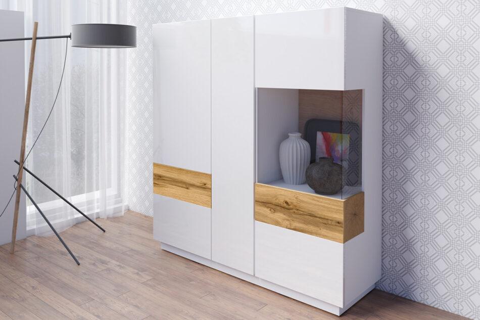 SILKE Podwójna komoda z witryną 130 cm modern biała / dąb biały połysk/dąb wotan - zdjęcie 1