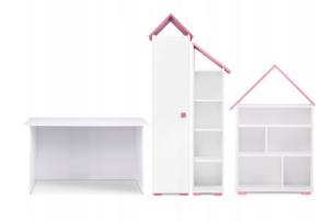 PABIS, ZYGIO, https://konsimo.pl/kolekcja/pabis-zygio/ Zestaw meble dla dziewczynki różowe 4 elementy biały/różowy - zdjęcie