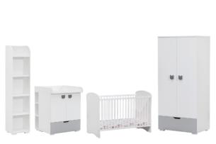 PINKO, https://konsimo.pl/kolekcja/pinko/ Zestaw meble niemowlęce 4 elementy biały/szary - zdjęcie