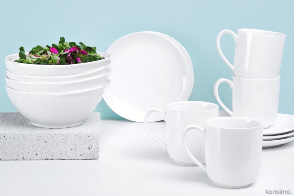 RESEDA Zestaw śniadaniowy porcelanowy dla 4 osób biały biały - zdjęcie 0