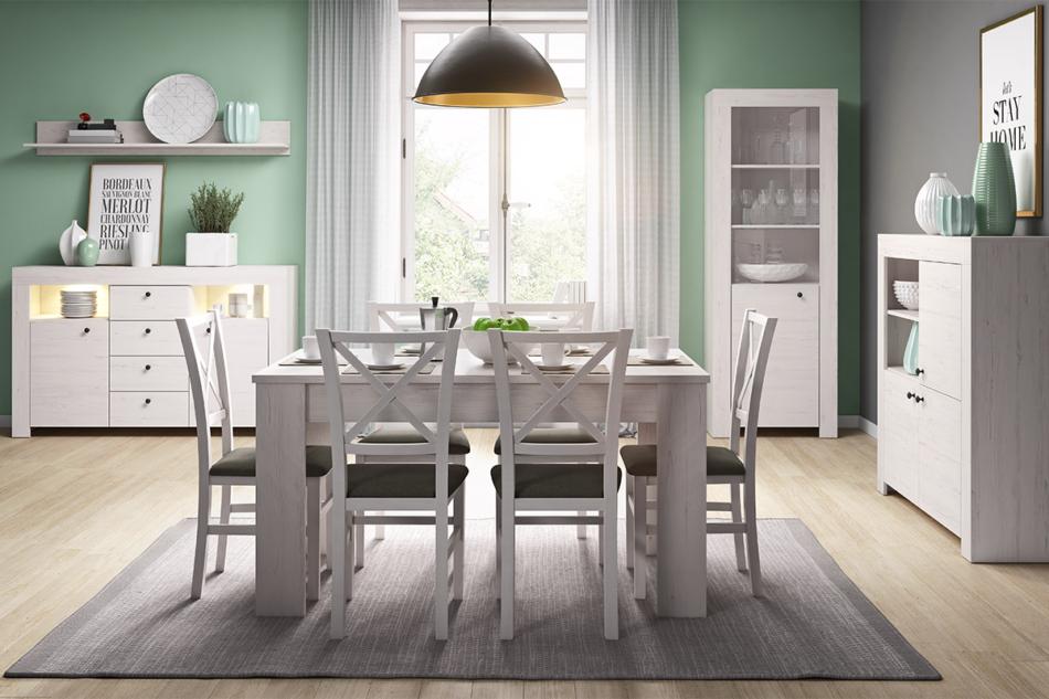 SAMBU Podwójna minimalistyczna komoda wzór drewna biała biały - zdjęcie 2