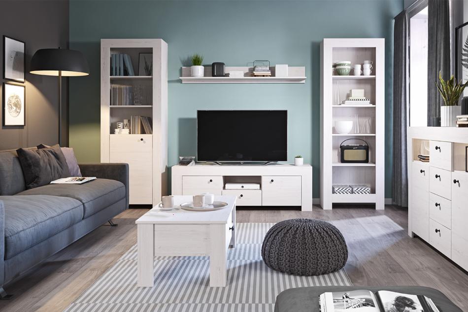 SAMBU Podwójna minimalistyczna komoda wzór drewna biała biały - zdjęcie 1