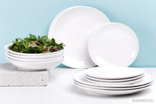 RESEDA, https://konsimo.pl/kolekcja/reseda/ Zestaw obiadowy porcelanowy dla 4 osób biały biały - zdjęcie