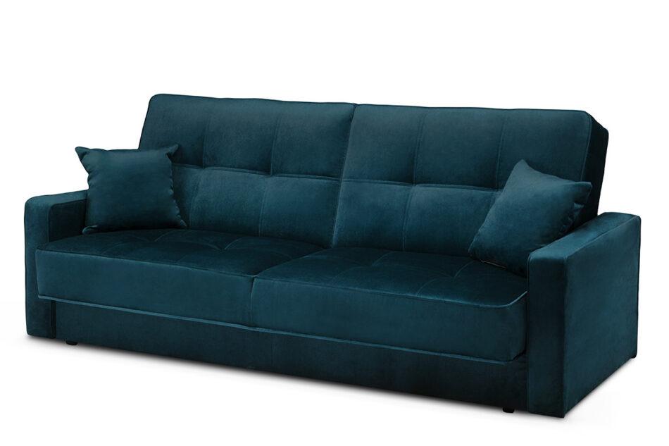 ORIO Granatowa rozkładana kanapa do salonu welur turkusowy - zdjęcie 2