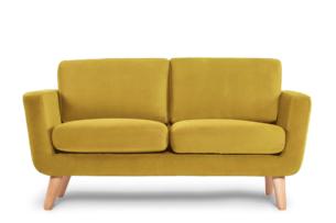 TAGIO, https://konsimo.pl/kolekcja/tagio/ Żółta skandynawska sofa 2 osobowa żółty - zdjęcie