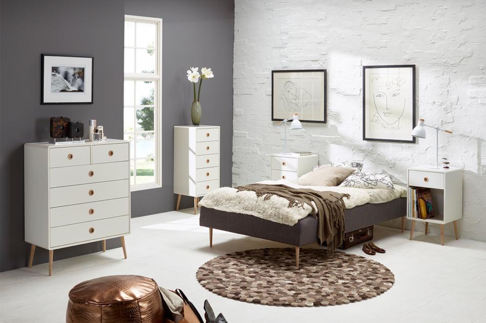 SOFTLINE Duża skandynawska komoda z półkami i szufladami biała biały/dąb - zdjęcie 7