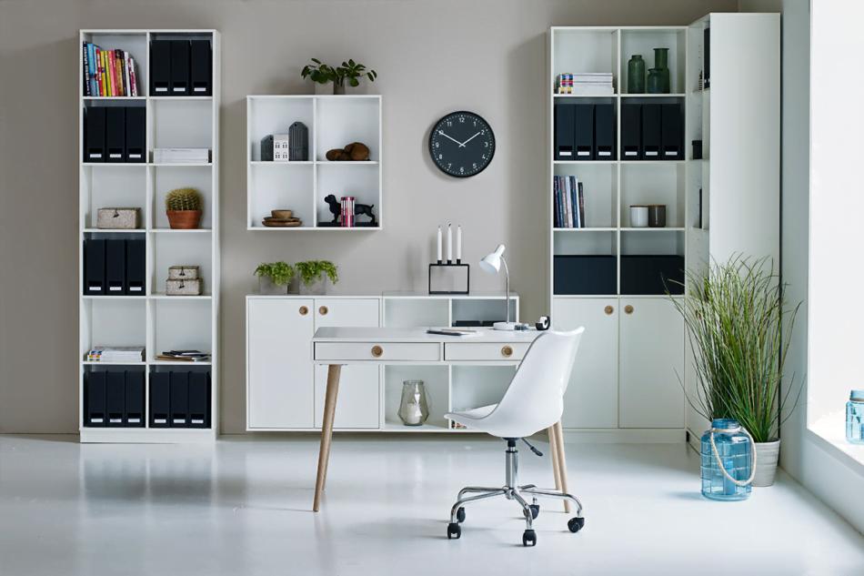 SOFTLINE Skandynawskie biurko na nóżkach białe biały/dąb - zdjęcie 6