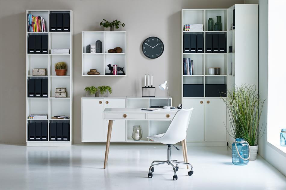 SOFTLINE Duża skandynawska komoda z półkami i szufladami biała biały/dąb - zdjęcie 3