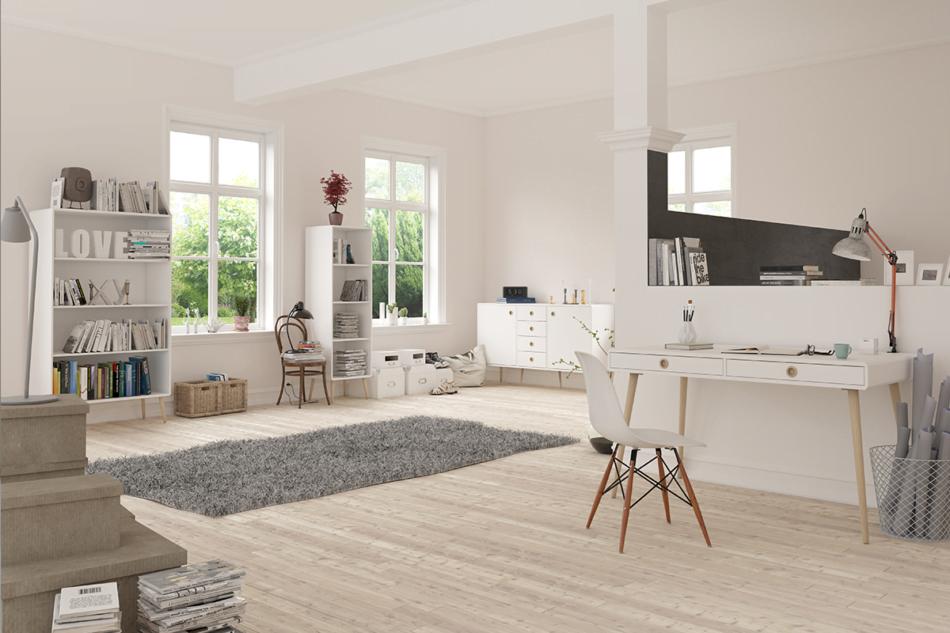 SOFTLINE Skandynawskie duże biurko na nóżkach białe biały/dąb - zdjęcie 1