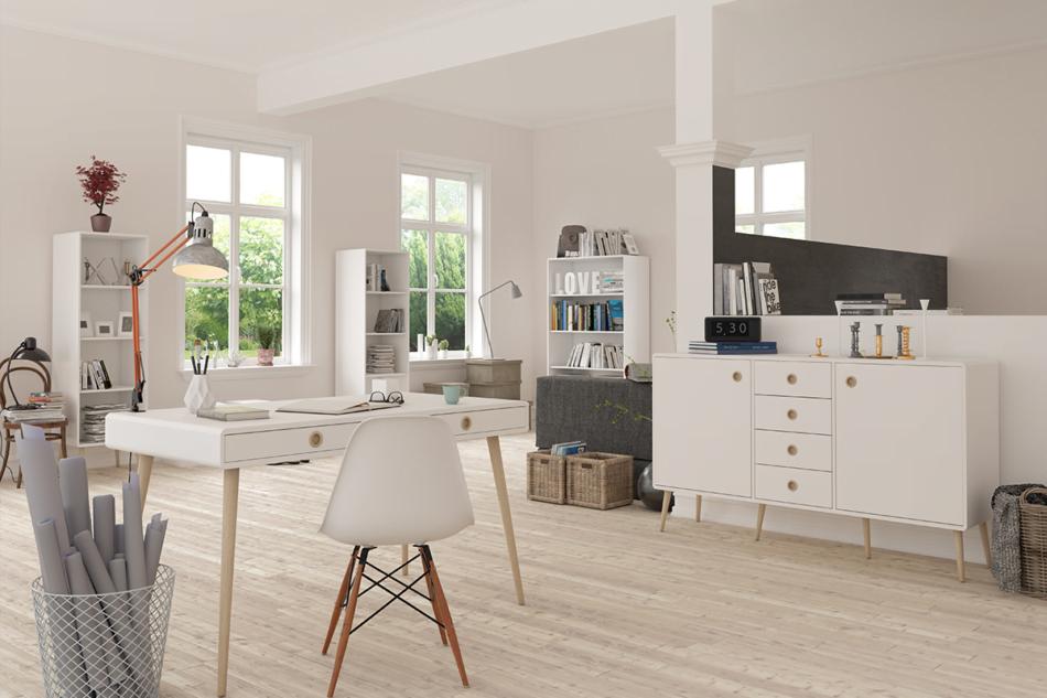 SOFTLINE Skandynawskie biurko na nóżkach białe biały/dąb - zdjęcie 1