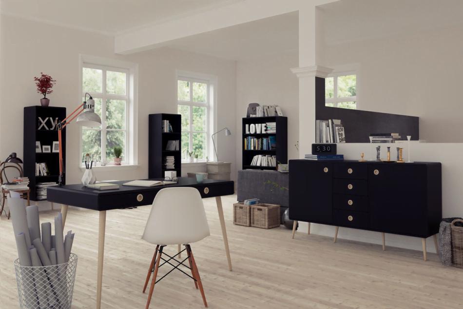 SOFTLINE Skandynawskie duże biurko na nóżkach czarne czarny/dąb - zdjęcie 1