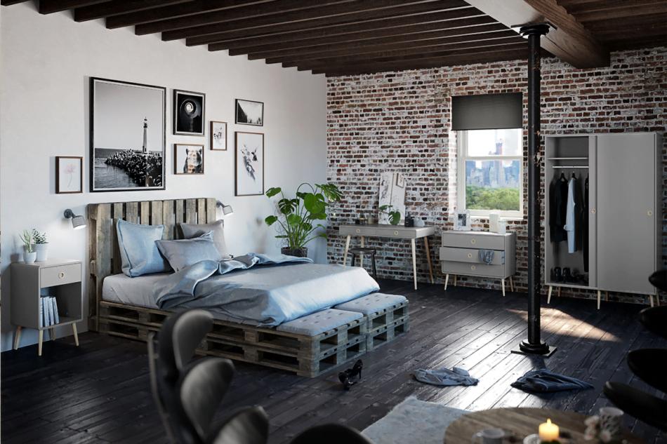 SOFTLINE Skandynawskie biurko na nóżkach szare szary/dąb - zdjęcie 1