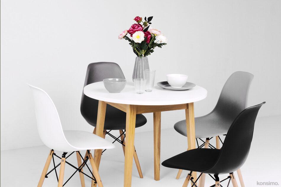FRISK Okrągły stół skandynawski biały biały/dąb naturalny - zdjęcie 1