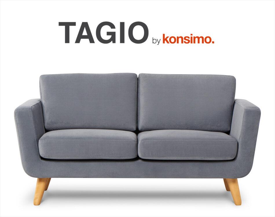 TAGIO Szara skandynawska sofa 2 osobowa szary - zdjęcie 8